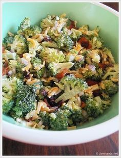 2 heads fresh broccoli cup red onion, chopped pound bacon 1 cups grated cheddar cheese to cup of raisins 2 tablespoons vinegar 1 cup mayonnaise cup sugar Great Recipes, Favorite Recipes, Family Recipes, Fresh Broccoli, Cooking Recipes, Healthy Recipes, Soup And Salad, Bacon Salad, Vegetarian Recipes