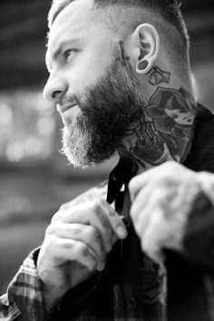 Neck tattoo beard