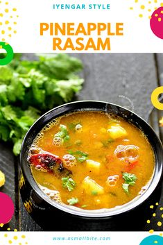 Pineapple Rasam Recipe (Iyengar Style) is very famous in the Karnataka Cuisine and in Tamilnadu also. It tastes too good with plain rice and can be drunk like a soup also, for a soothing throat if you are caught with any cold or cough. Jain Recipes, Raw Food Recipes, Indian Food Recipes, Soup Recipes, Cooking Recipes, Ethnic Recipes, Pineapple Recipes Indian, Rasam Recipe, Potato Curry