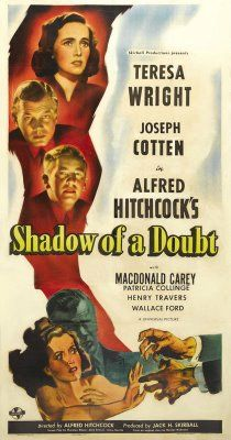 Shadow of a Doubt (1943), Teresa Wright, Joseph Cotten, Macdonald Carey, Hume Cronyn; directed by Alfred Hitchcock; screenplay co-written by Thornton Wilder