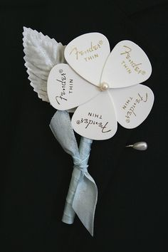 Guitar pick boutonniere, perfect for the guitar playing groom! Wedding Music, Wedding Bells, Our Wedding, Wedding Flowers, Dream Wedding, Music Themed Weddings, Guitar Wedding, Wedding Shit, Wedding Groom