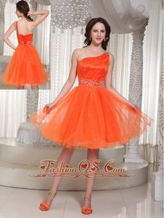Lace-up Organza Orange Prom Dress With One Shoulder Beaded Decorate In Summer    http://www.fashionos.com  Gorgeous is the word written all over this dress. Featured with short styles and light chiffon materials, this dress is the right choice for one who want to enjoy a fantastic party. Orange color and layers add the charm. This one features a lovely one shoulder bodice with boning details and silver beadwork throughout.