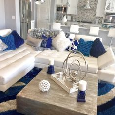 73 Apartment Decorating and Small Living Room Ideas ~ Silver Living Room, Navy Living Rooms, Classy Living Room, Blue Living Room Decor, Small Living Rooms, Living Room Sofa, Home Living Room, Interior Design Living Room, Living Room Designs