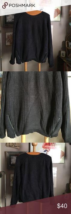 Olive & Oak sweater *sweater weather here in maine* having a hard time parting with this beauty! Thick olive & oak sweater with awesome knit / zipper detail. Dark charcoal gray. Olive & Oak Sweaters