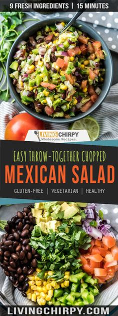 Throw Together Healthy Chopped Mexican Salad Easy Throw Together Chopped Mexican Side Salad. A healthy recipe that goes great with Mexican food.Easy Throw Together Chopped Mexican Side Salad. A healthy recipe that goes great with Mexican food. Mexican Chopped Salad, Mexican Salad Recipes, Mexican Salads, Healthy Mexican Sides, Mexican Easy, Great Salad Recipes, Chopped Salad Recipes, Vegetarian Mexican, Vegetarian