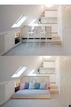 Pull-out bed under platform riser. Pull-out bed under platform riser. Tiny Spaces, Small Apartments, Beds For Small Rooms, Small Space Bedroom, Pull Out Bed, Shop Interiors, Interior Design Living Room, House Design, Furniture