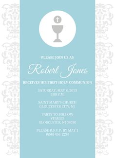 First Holy Communion Invitation Boy or Girl First Communion Cards, Boys First Communion, Holy Communion Invitations, Baptism Party, Party Themes, Adobe Illustrator, Digital, Decoration, First Holy Communion