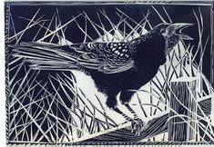 Rook - linocut print by Jackie Curtis