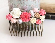 Hot Pink Wedding Hair Comb Fuchsia Pink White Floral Bridal Hair Pin Head Piece Bridesmaid Shabby Chic Flowers Girly Woodland Spring Summer