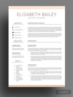 The Modern Resume Resume Template Phoebe Griffiths  Modern Resume Template Modern .