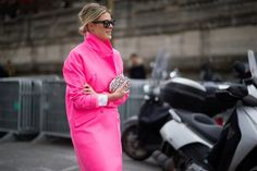 Love this bright pink trenchcooat