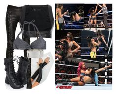 """Jenasis Abernathy VS Sasha Banks"" by sarah-night-life ❤ liked on Polyvore featuring A.F. Vandevorst, Dsquared2, H&M, Forever 21 and Eddie Borgo"