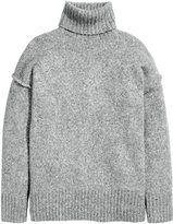 H&M - Chunky-knit Turtleneck Sweater - Gray melange - Ladies