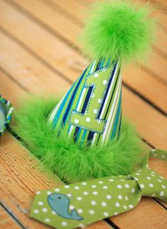 Boys Birthday Party Hat, Diaper Cover and Tie - Perfect for First Birthday, Smash Cake Pics, Photo Prop - Whale in Lime and Blues. $56.00, via Etsy.