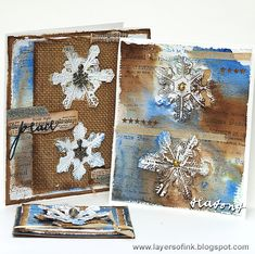 Layers of ink - Textured Snowflakes Tutorial by Anna-Karin. Made with Tim Holtz Christmas products by Sizzix, Idea-ology and Stamper's Anonymous.