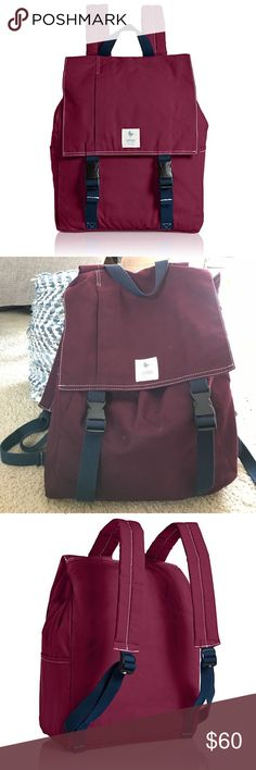 Esperos carry hope Canvas Burgundy Backpack 100% durable 10.10 Oz. Military cotton duck canvas, each bag is naturally stain resistant and water repellent Includes a padded laptop sleeve, a patterned interior zipper pocket, and a discreet front zipper pocket Features cotton webbing, plastic hardware and oxford stripe trim. Pre-loved and in great condition- a few minor markings- see last 2 photos. Great give back brand- when this was purchased retail they sponsor a child in needs eduction…