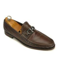 Salvatore Ferragamo Brown Calfskin Gancio Bit Driving Moc Loafer EE ( 2 E ) Bit Loafers, Brown Leather Loafers, Leather Loafer Shoes, Suede Loafers, Loafers Men, Driving Loafers, Driving Shoes, Backless Loafers, Black Dress Shoes