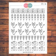 One sheet of Vet stickers!  These planner stickers are designed to fit various planners including but not limited to Erin Condren, Happy Planner, Day Designer, Inkwell, Plum Paper and Filofax!  - Each sheet is approximately 5.7 x 4.3 inches (or 14.5 x 11 cm). - All stickers are printed on non-removable matte white adhesive paper. - Stickers are kiss-cut for easy removal. - All artwork is hand drawn and created by Calime Create. Please let me know if you need customization!  Thank you for…