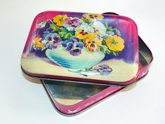 Vintage Pansy Bluebird Toffee Tin Made in England     by Gardenage, $12.00