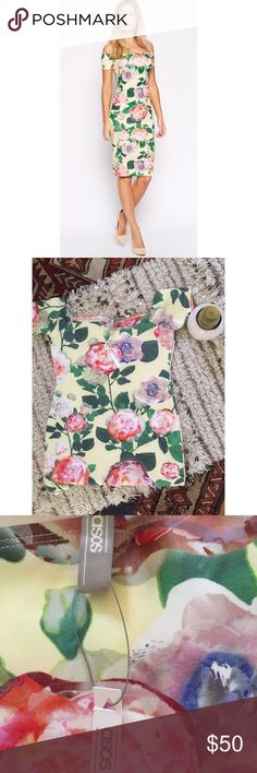 FINAL PRICE NWT Asos Bardot floral dress NWT Asos floral Bardot off the shoulder dress. Soft to the touch, and beautiful, bright look. Size is US 6 but runs very small. I am a size 25 in jeans and wear a size 2 in dresses. Asos Dresses