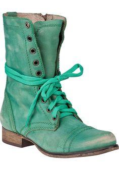 Steve Madden Shoes - Troopa Combat Boot Green Leather #Scrubs #Nurses #Nursing #StudentNurse #SmittenScrubs @SmittenScrubs #healthcare #uniforms #NursingUniforms #StPatricksDay