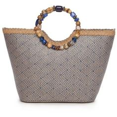 Kim Rogers Navy Beaded Ring Tote ($20) ❤ liked on Polyvore featuring bags, handbags, tote bags, navy, straw tote, tote purses, navy blue purse, beach tote bags and straw tote beach bag