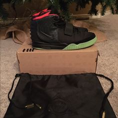"Nike Air Yeezy 2 Solar Red size 11 ""Worn"" For sale is a worn pair of Nike Air Yeezy 2 Solar Red size 11. Shoes have been worn. They will come with a replacement box and will also have Yeezy Baggy. Will come with all 4 gold lace locks and gunmetal lace locks. one of the laces has been broken and has to be finessed to hold lace lock. Shoes are a the best replicas out and very close to authentic. Nike Shoes Athletic Shoes"