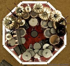 Aerial view of Neil Peart's drum kit