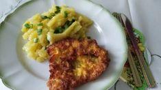 Bravčové rezne v cestičku z kyslej smotany, zemiakový šalát s marinádou. Cauliflower, Vegetables, Food, Cauliflowers, Essen, Vegetable Recipes, Meals, Cucumber, Yemek