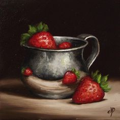 Strawberries in Silver Cup, J Palmer Daily painting Original oil still life Art
