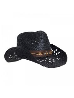 Straw Cowboy Hat W  Vegan Leather Band   Beads- Shapeable Brim- Beach  Cowgirl - Black - CT11UYA6TOD a76d6bb65280