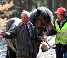 The Duke of Rothesay meets a horse-logger on the Balmoral Estate, 18 April 2013. The Prince of Wales is known as The Duke of Rothesay when in Scotland. © Press Association