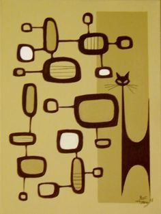 EL GATO GOMEZ PAINTING MID CENTURY MODERN RETRO ATOMIC ABSTRACT CAT WITCO STYLE