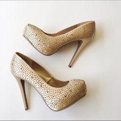 Gold Studded Platform Pumps Stunning gold jeweled platform pumps. Worn once, excellent condition. Forever 21 Shoes Heels