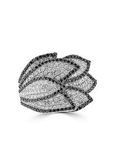 Effy 14K White Gold Black and White Diamond Ring, 2.01 TCW