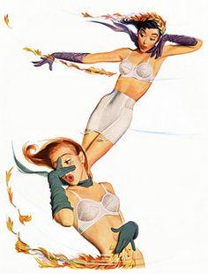 hoodoothatvoodoo: Jantzen 1951 Art by Pete Hawley Vintage Girdle, Vintage Underwear, Vintage Lingerie, Mono Ha, Robert Mcginnis, Norman Rockwell, Vintage Advertisements, Vintage Ads, Vintage Glamour