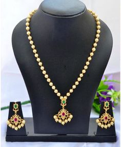 Gold Plated CZ Pearl Necklace Set Handmade Pearl by Fashionkali