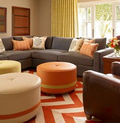 Obviously, a sofa in a living room decor is the most important thing to have, it brings happiness, comfort and is the Living Room Orange, Living Room Grey, Living Room Sofa, Living Room Decor, Living Area, Sofa Inspiration, Living Room Inspiration, Green Family Rooms, Grey Sectional Sofa