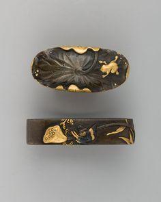 Sword-Hilt Collar and Pommel (Fuchigashira) Japanese Sword, Japanese Art, Vintage Japanese, Japanese Beauty, Samurai Weapons, Samurai Swords, Katana, Sword Hilt, Japan Crafts