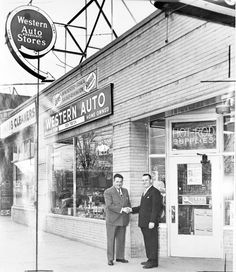The Western Auto Store located at 28335 Gratiot in Roseville. Pictured here are the owner Dick Teston and Roy Diesing, president of the Village of Roseville. (1952)