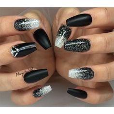 Bildresultat för gel nails black and silver