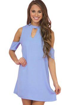 ddae79d733 Light Blue Artful Keyhole and Short Sleeve Cold Shoulder Mini Dress MB22963- 4 – ModeShe