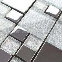 [Mius Art Mosaic] White glass tile mixed Silver stainless steel mosaic kitchen mosaic E5059(China (Mainland))