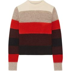 Rag & bone Britton striped knitted sweater ($265) ❤ liked on Polyvore featuring tops, sweaters, jumper, red, loose sweater, striped crew neck sweater, multi color striped sweater, red top and thick sweaters