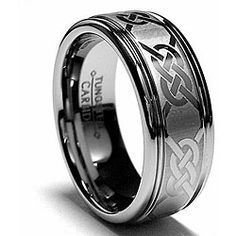 Tungsten Carbide Laser-etched Celtic Grooved Band (8 mm)