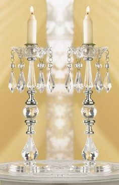 crystal beaded chandelier candle stick holders