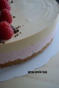 Ohje Suklaapeikon keittiössä -blogista. Pohjan tein gluteenittomista digestive-kekseistä. Pohjasta tulikin oikein pehmoinen, paljon paremp...