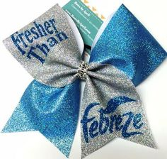 Fresher Than Fabreze All Glitter Aqua and Silver Cheer Bow - Ali Zinth - Photo Cute Cheer Bows, Cheer Mom, Big Bows, Cheer Hair Bows, Volleyball Bows, Cheerleading Bows, Competitive Cheerleading, Bow Board, Cheer Workouts