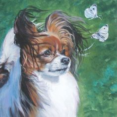 Chasing Butterflies. Papillon Dog art canvas print by TheDogLover.