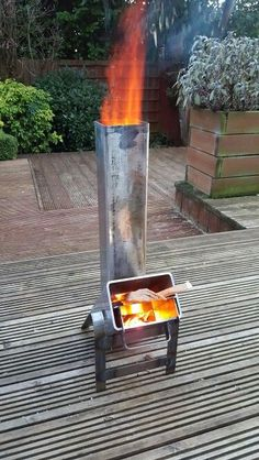 Homemade rocketstove test firing.